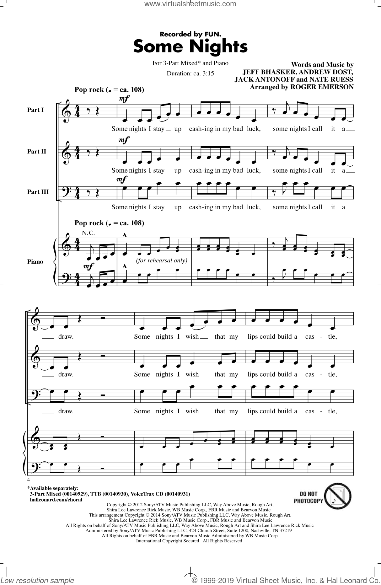 Some Nights sheet music for choir (3-Part Mixed) by Roger Emerson, Fun, Andrew Dost, Jack Antonoff, Jeff Bhasker and Nate Ruess, intermediate skill level