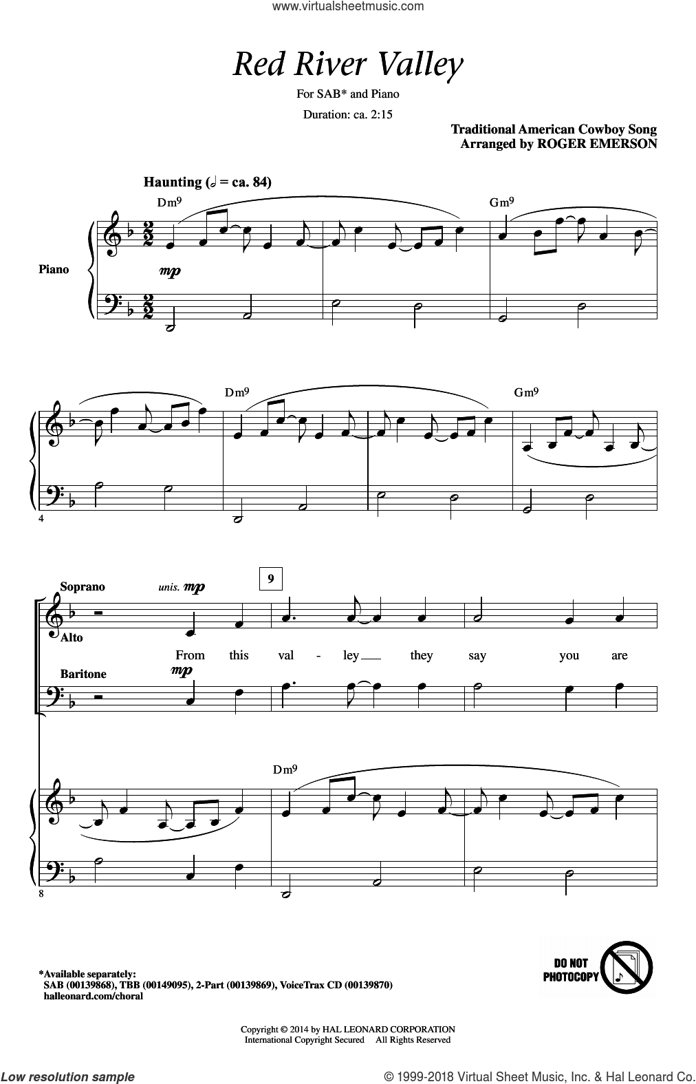 The Red River Valley sheet music for choir (SAB: soprano, alto, bass) by Traditional American Cowboy So and Roger Emerson, intermediate. Score Image Preview.