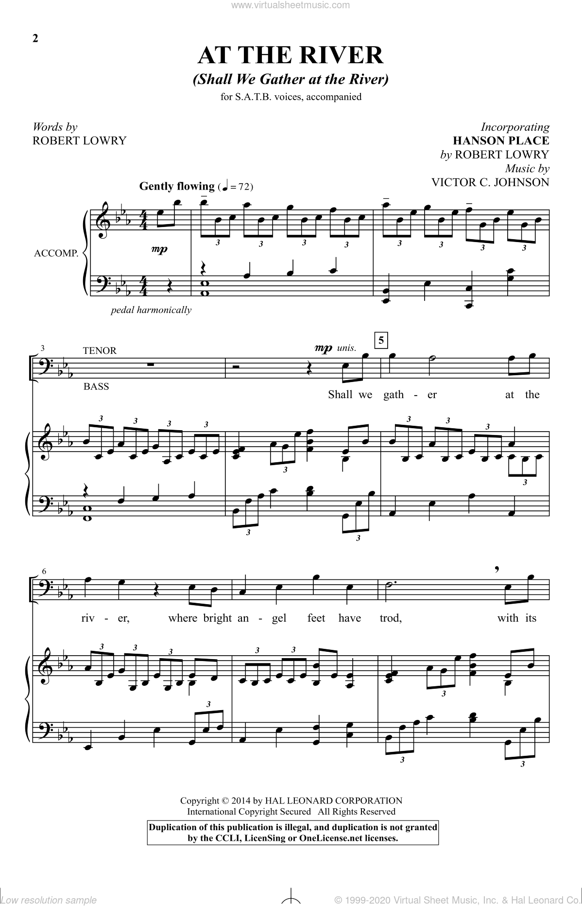 At The River (Shall We Gather At The River) sheet music for choir (SATB) by Victor Johnson and Robert Lowry, intermediate. Score Image Preview.
