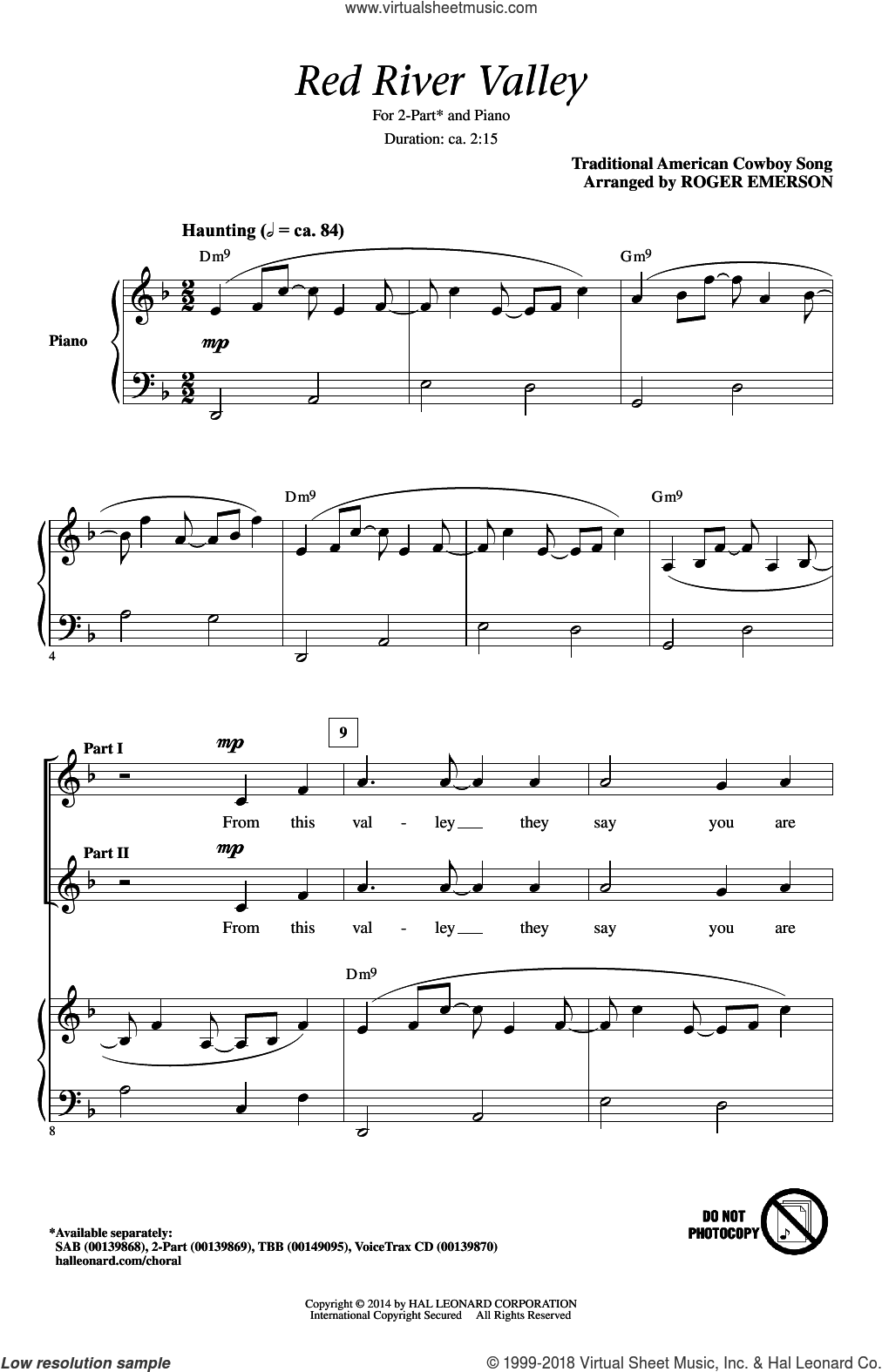 The Red River Valley sheet music for choir (2-Part) by Traditional American Cowboy So and Roger Emerson, intermediate duet. Score Image Preview.