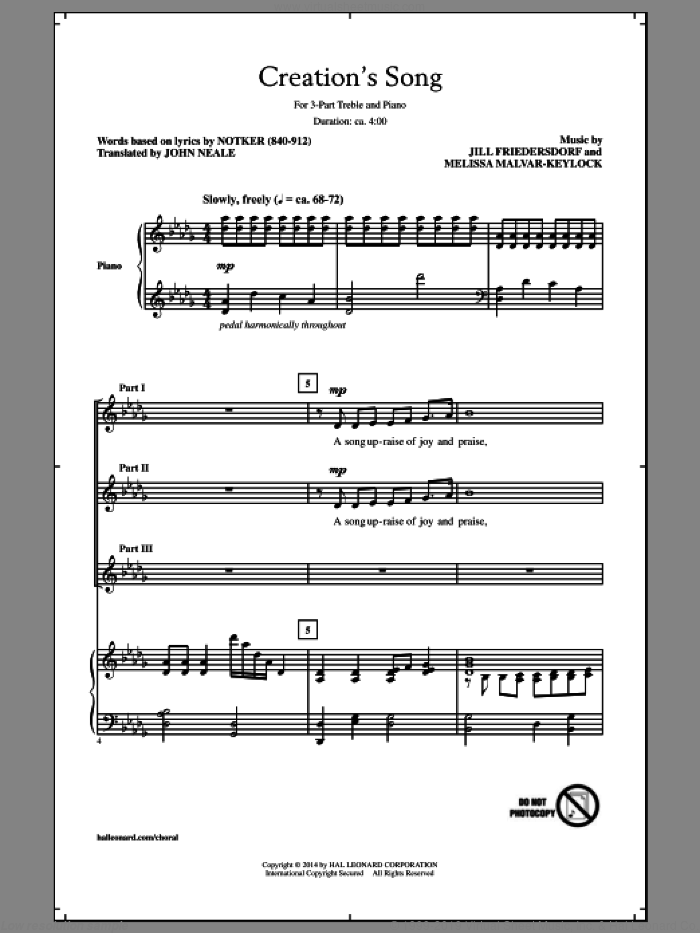 Creation's Song sheet music for choir and piano (chamber ensemble) by Melissa Malvar-Keylock. Score Image Preview.