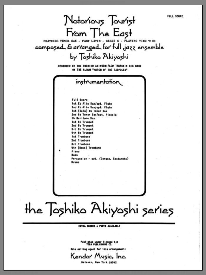 Notorious Tourist From The East (COMPLETE) sheet music for jazz band by Toshiko Akiyoshi, intermediate skill level