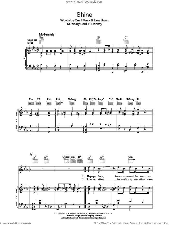 Shine sheet music for voice, piano or guitar by Ford Dabney