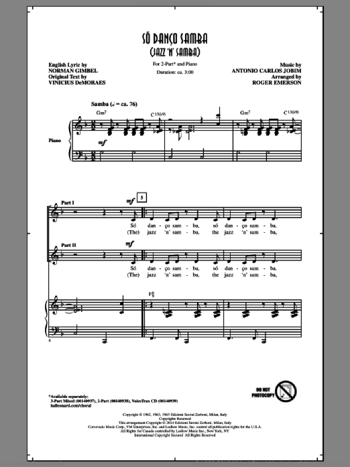 Jazz 'N' Samba sheet music for choir and piano (duets) by Norman Gimbel, Roger Emerson and Antonio Carlos Jobim. Score Image Preview.