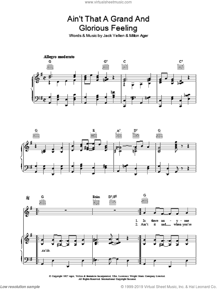 Ain't That A Grand And Glorious Feeling sheet music for voice, piano or guitar by Jack Yellen and Milton Ager, intermediate skill level