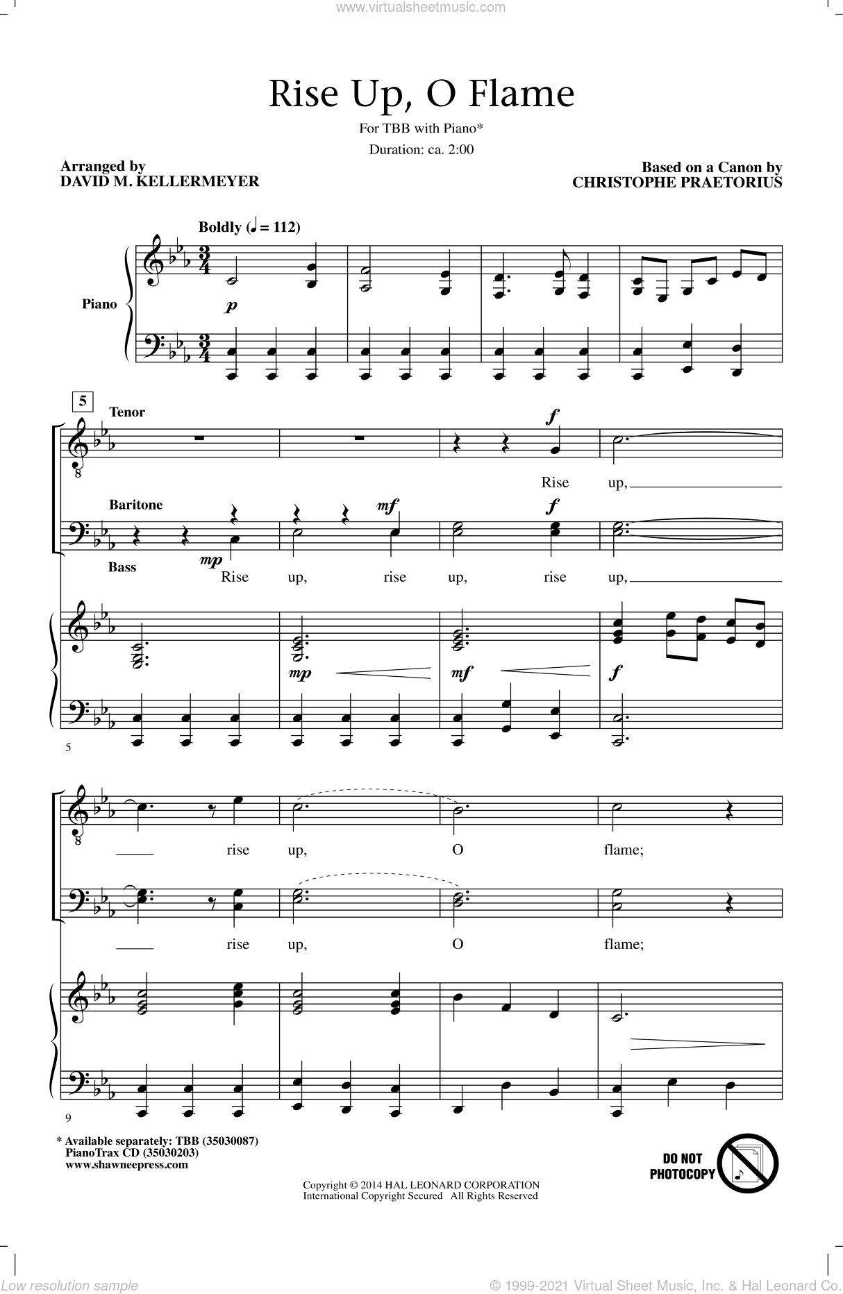 Rise Up, O Flame sheet music for choir (TBB: tenor, bass) by David M. Kellermeyer, Cristophe Praetorious and Christophe Praetorius, intermediate skill level