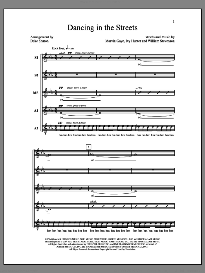 Dancing in the Streets sheet music for choir (SSAA: soprano, alto) by Deke Sharon, Anne Raugh, Ivy Hunter, Marvin Gaye and William Stevenson, intermediate skill level