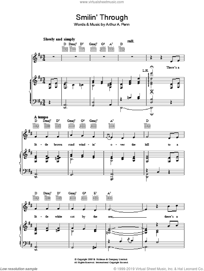 Smilin' Through sheet music for voice, piano or guitar by Arthur A. Penn, intermediate skill level