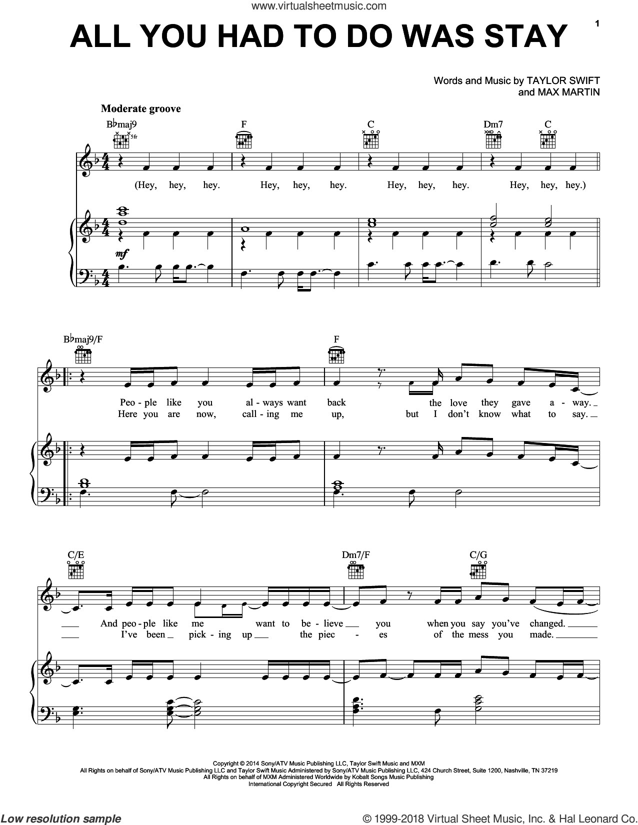 All You Had To Do Was Stay sheet music for voice, piano or guitar by Taylor Swift and Max Martin, intermediate skill level