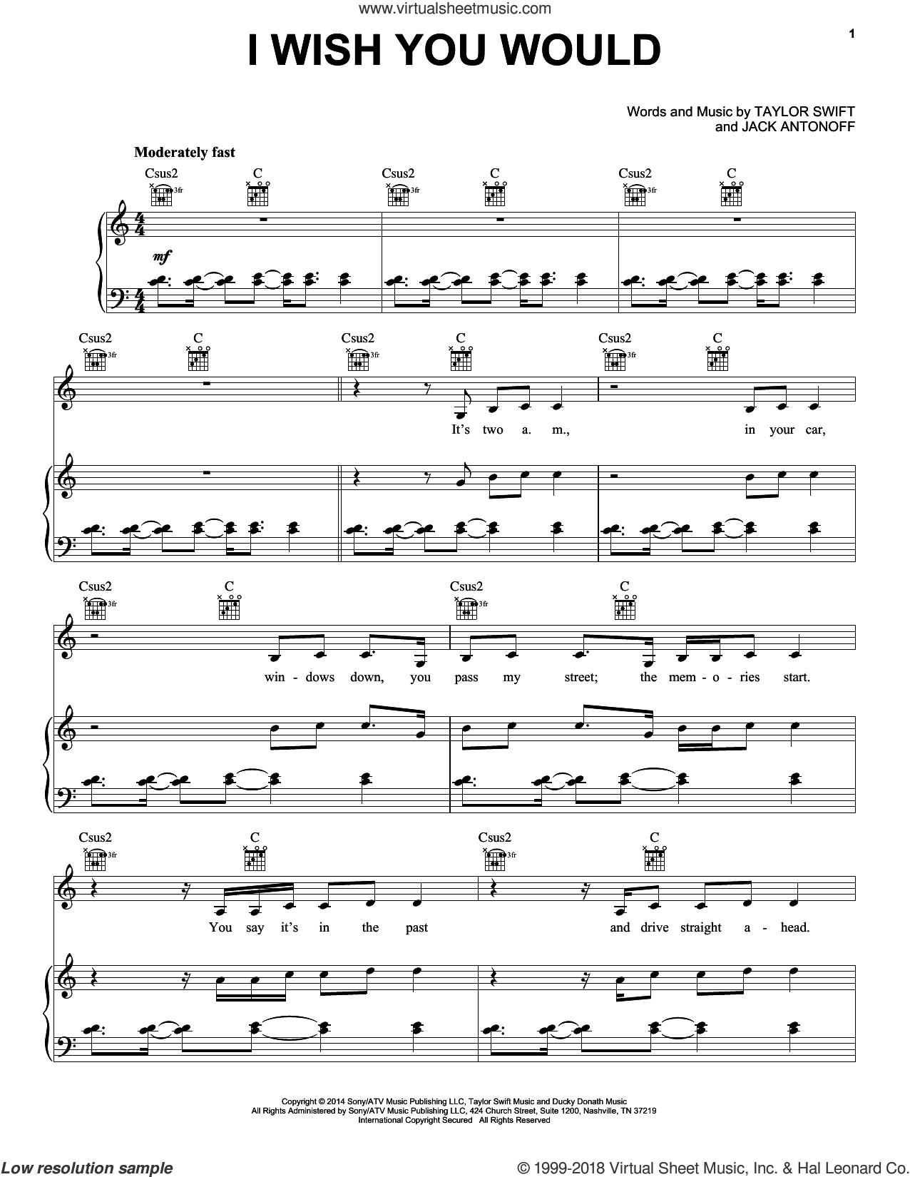 I Wish You Would sheet music for voice, piano or guitar by Taylor Swift and Jack Antonoff, intermediate. Score Image Preview.