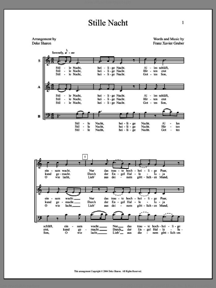 Stille Nacht sheet music for choir (a cappella) by Deke Sharon and Anne Raugh. Score Image Preview.
