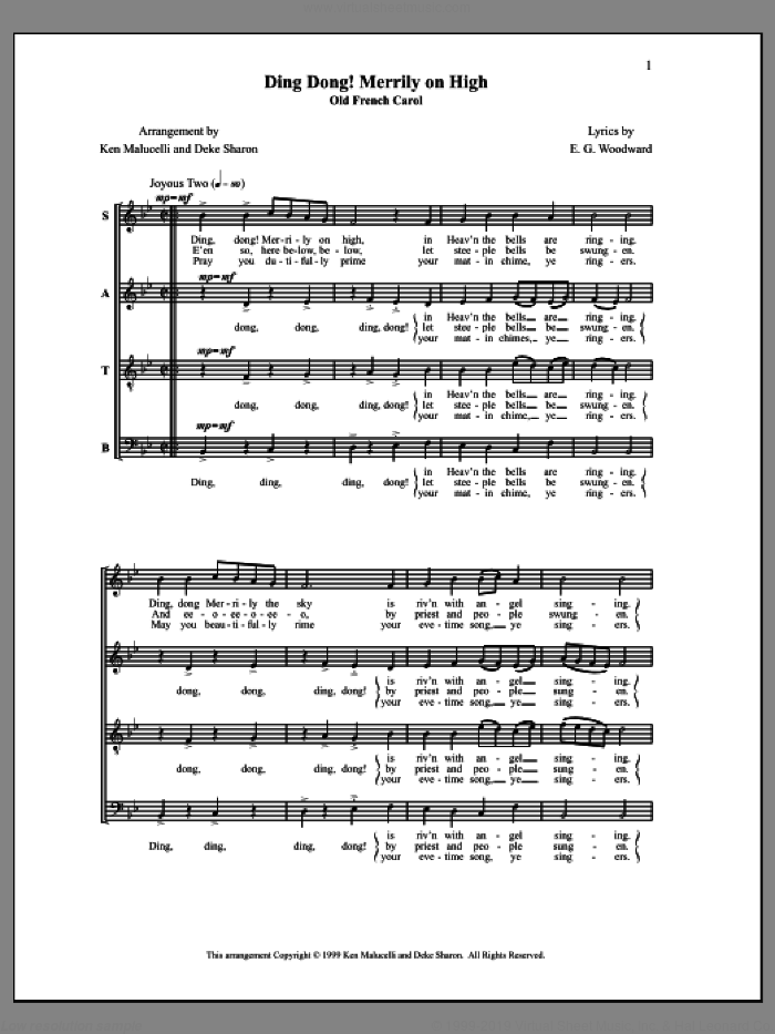Ding Dong! Merrily On High sheet music for choir by Deke Sharon, Anne Raugh, E. G. Woodward, Ken Malucelli and Miscellaneous, intermediate. Score Image Preview.
