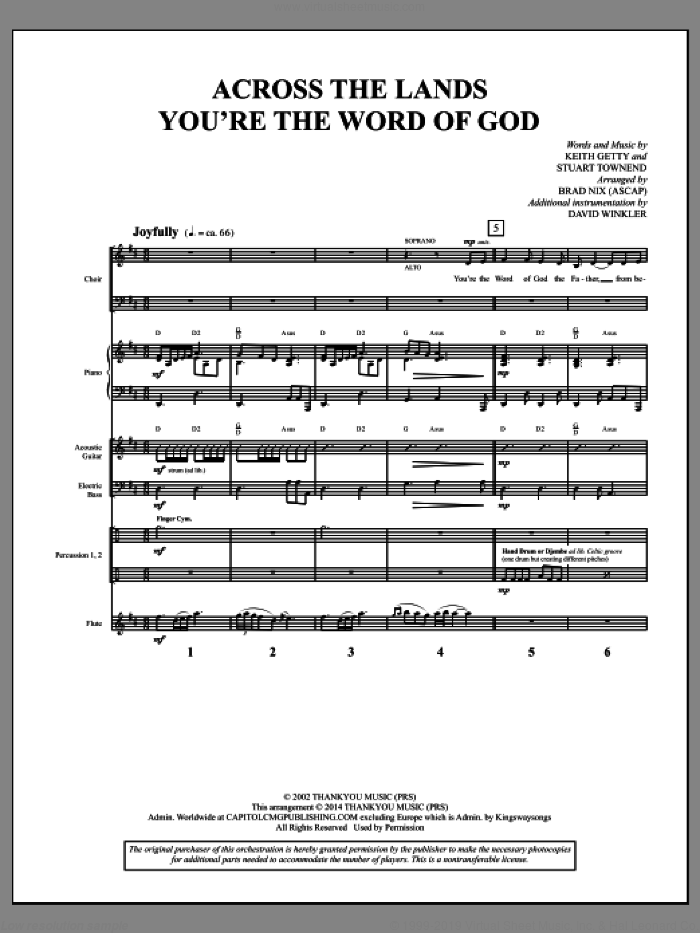 Across the Lands You're the Word of God (COMPLETE) sheet music for orchestra/band by Brad Nix, Keith & Kristyn Getty, Keith Getty and Stuart Townend, intermediate skill level