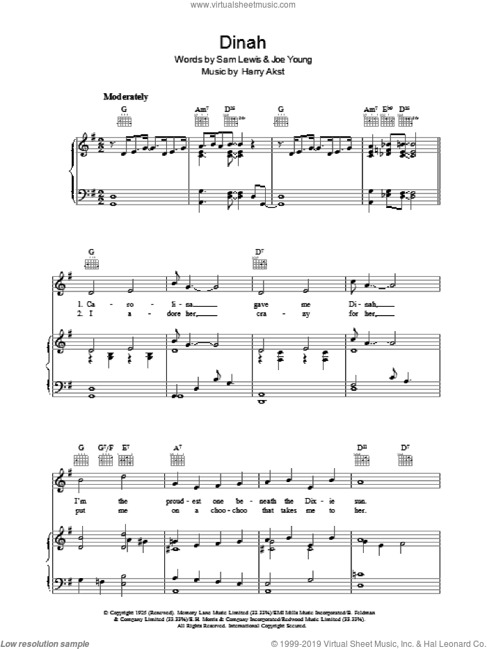 Dinah sheet music for voice, piano or guitar by Sam Lewis