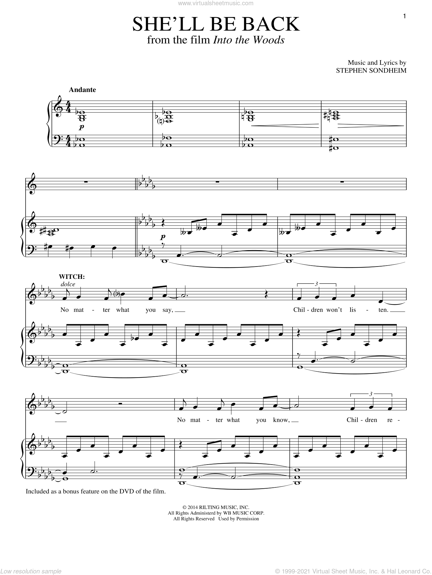 She'll Be Back sheet music for voice and piano by Stephen Sondheim, intermediate voice. Score Image Preview.