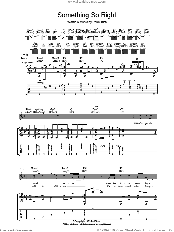 Something So Right sheet music for guitar (tablature) by Paul Simon, intermediate skill level