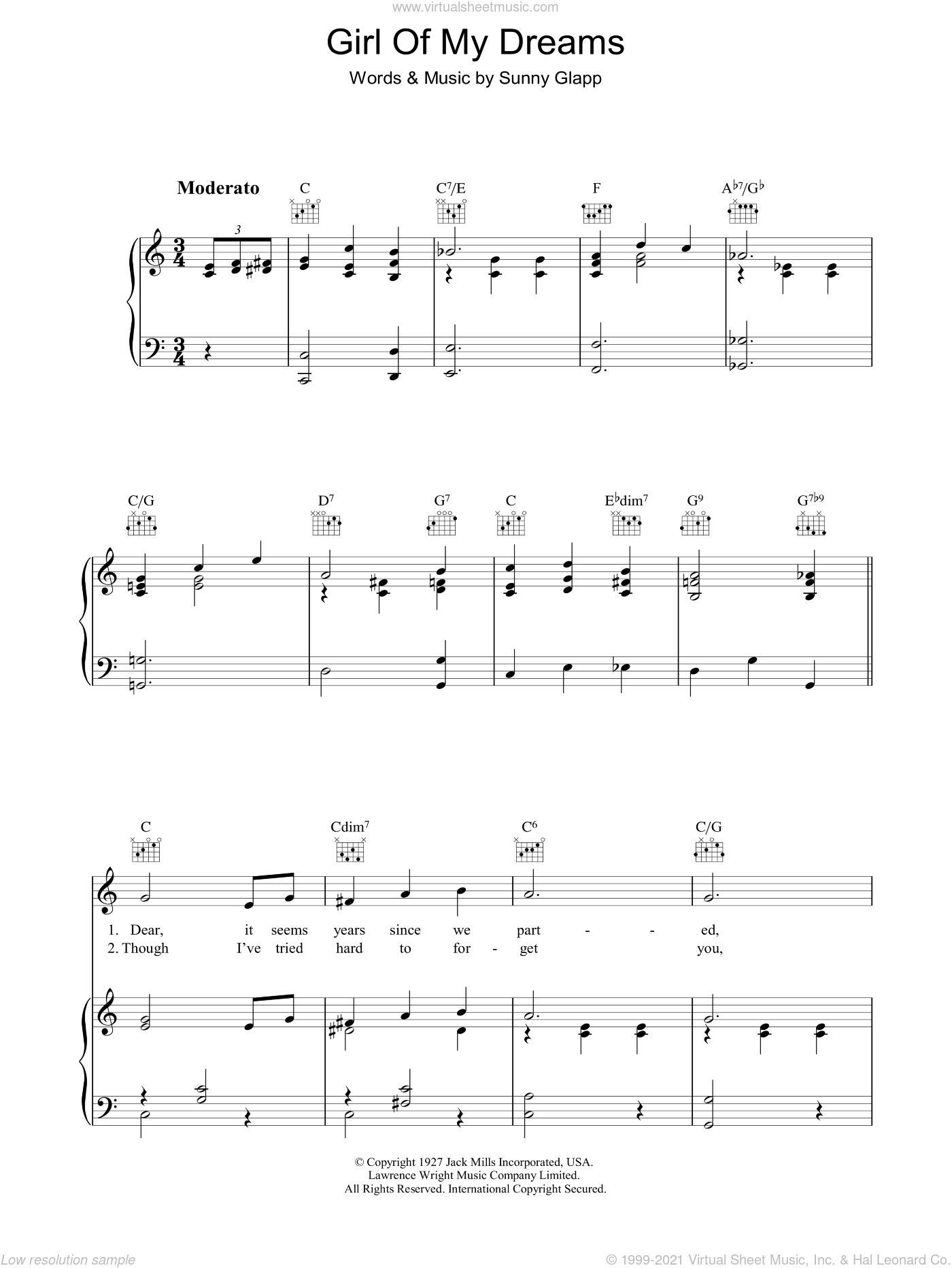 Girl Of My Dreams sheet music for voice, piano or guitar by Sunny Clapp. Score Image Preview.