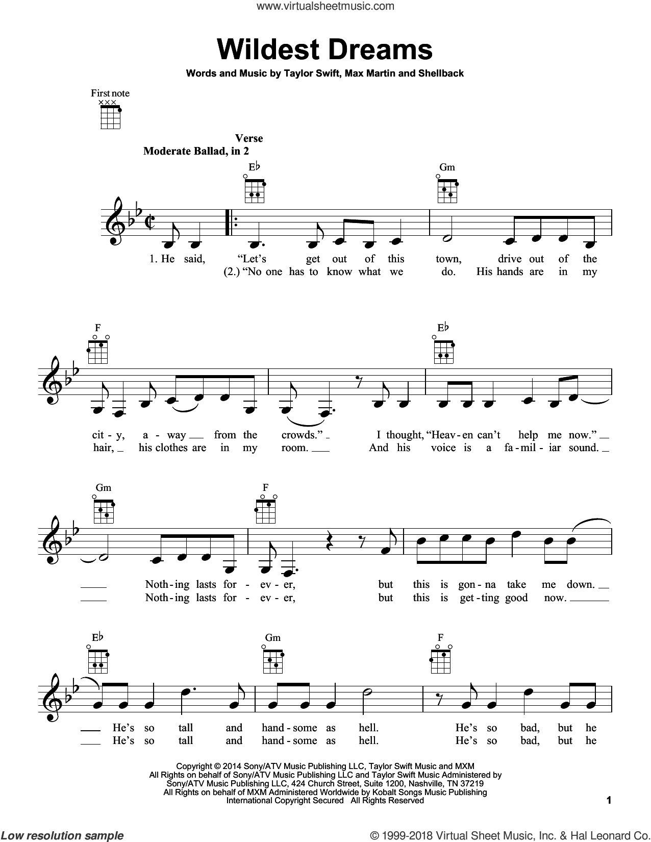 Wildest Dreams sheet music for ukulele by Taylor Swift, Johan Schuster, Max Martin and Shellback, intermediate ukulele. Score Image Preview.