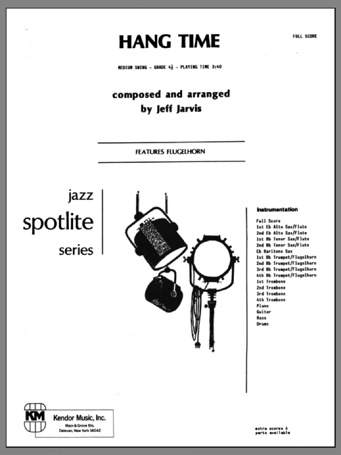 Hang Time (COMPLETE) sheet music for jazz band by Jeff Jarvis, intermediate skill level
