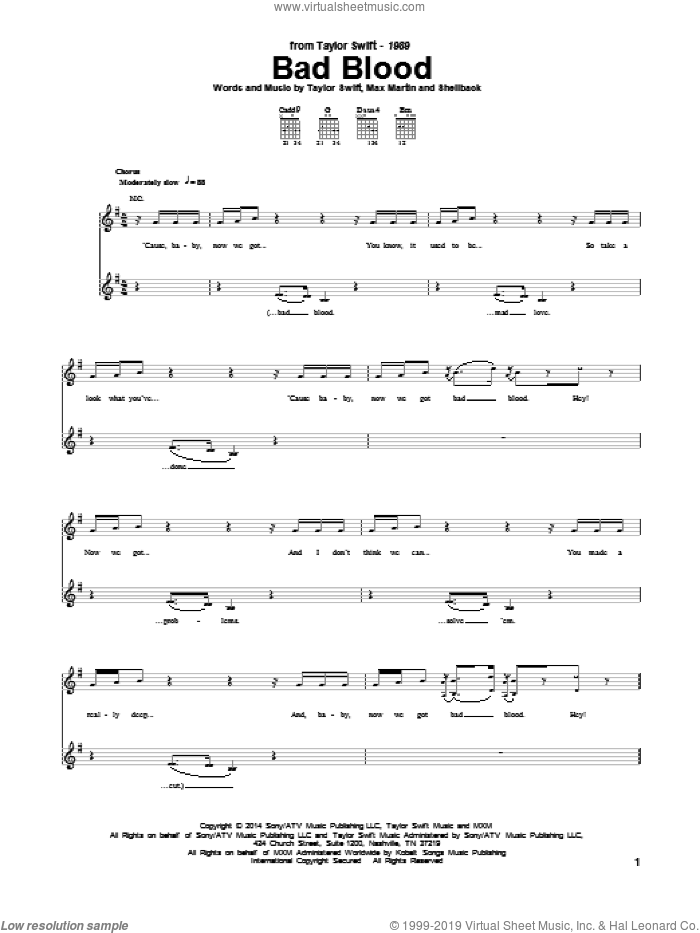 Bad Blood sheet music for guitar (tablature) by Taylor Swift, Johan Schuster, Max Martin and Shellback, intermediate. Score Image Preview.