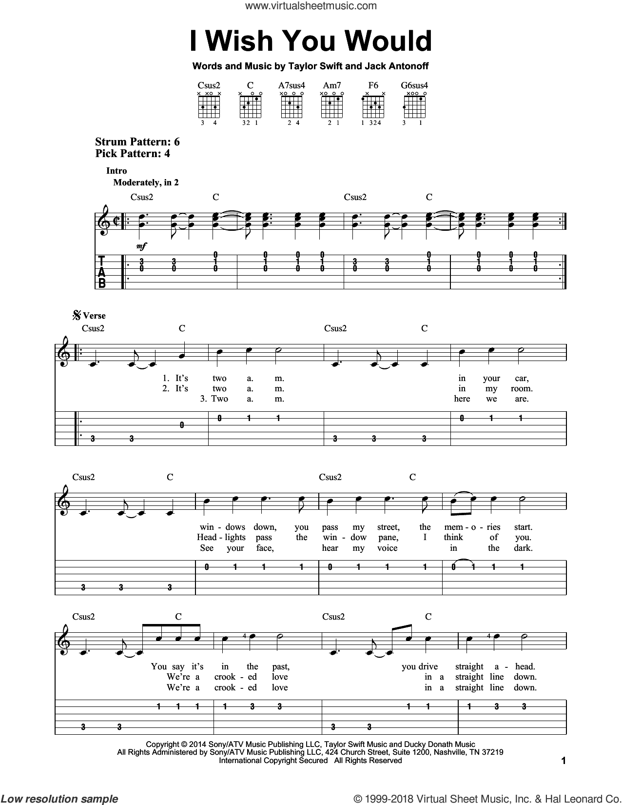 I Wish You Would sheet music for guitar solo (easy tablature) by Taylor Swift and Jack Antonoff. Score Image Preview.