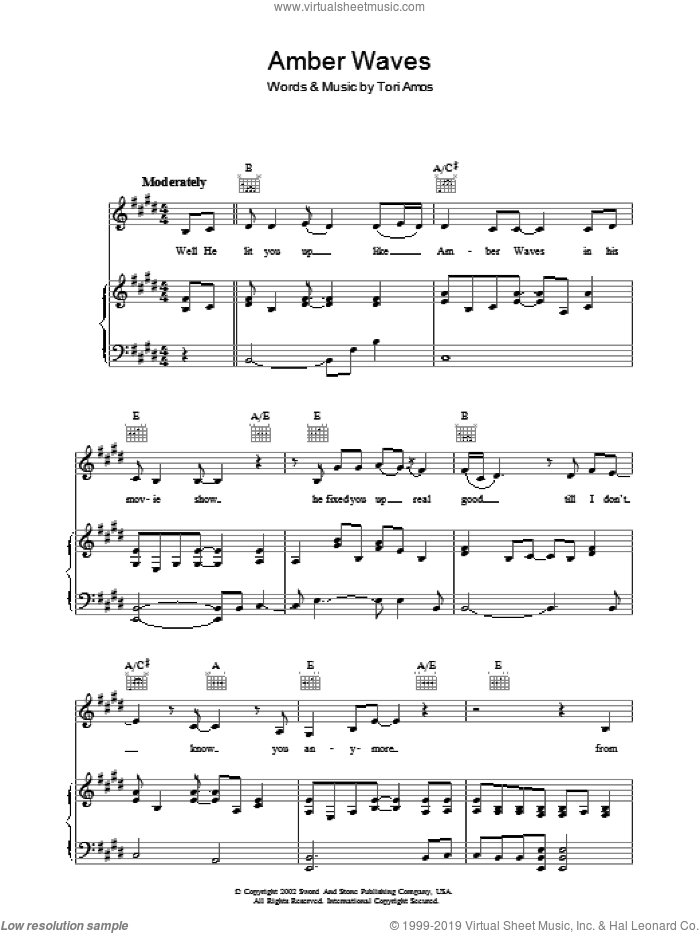 Amber Waves sheet music for voice, piano or guitar by Tori Amos, intermediate skill level