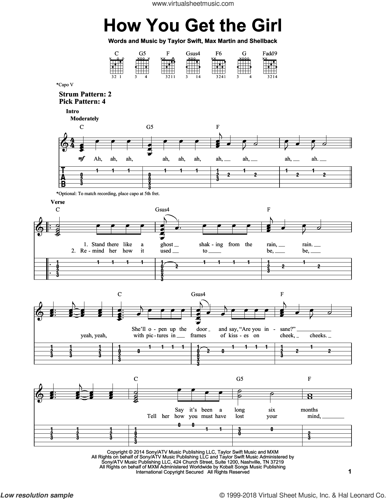 How You Get The Girl sheet music for guitar solo (easy tablature) by Taylor Swift, Johan Schuster, Max Martin and Shellback. Score Image Preview.