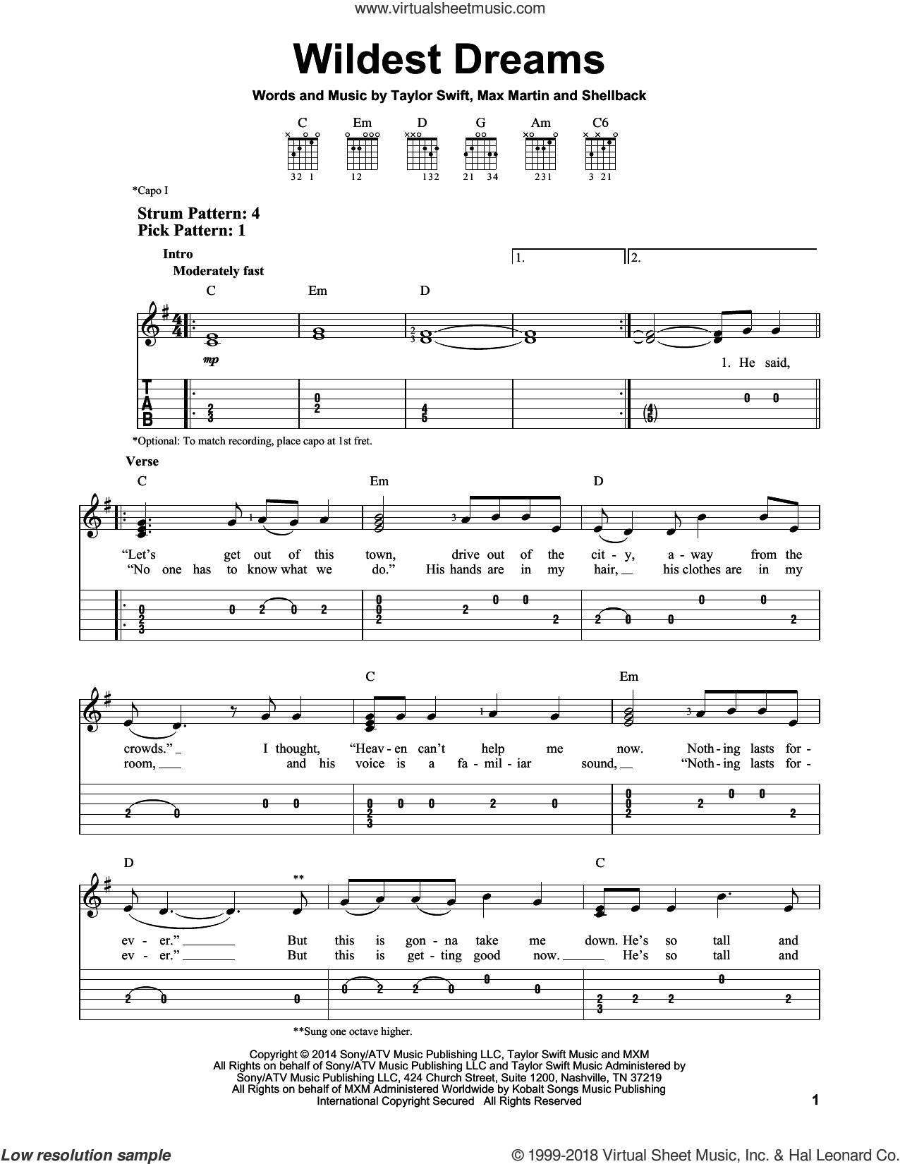 Wildest Dreams sheet music for guitar solo (easy tablature) by Taylor Swift, Johan Schuster, Max Martin and Shellback, easy guitar (easy tablature)