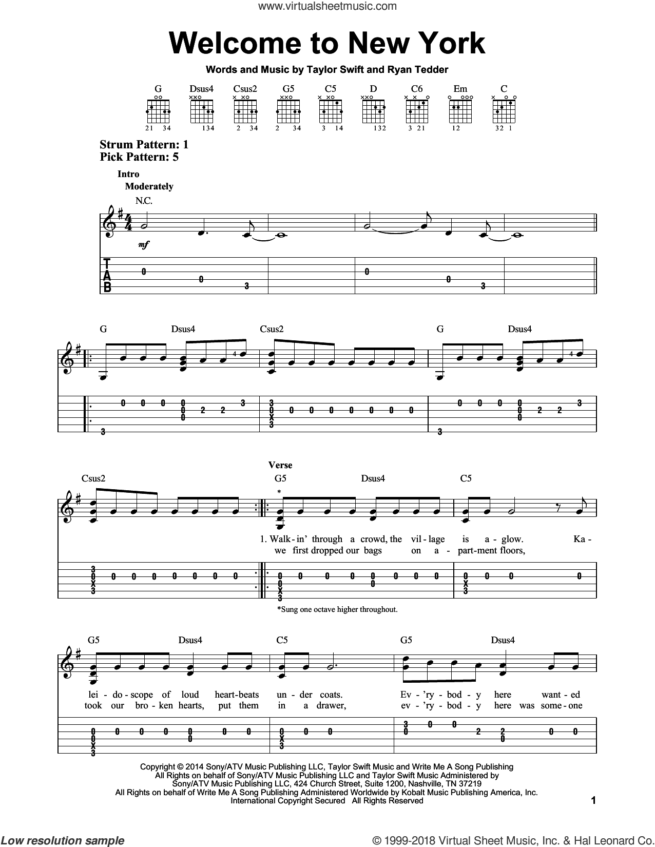 Welcome To New York sheet music for guitar solo (easy tablature) by Ryan Tedder and Taylor Swift. Score Image Preview.