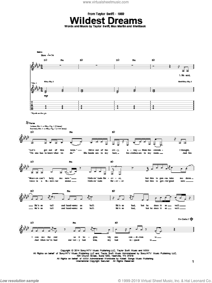 Wildest Dreams sheet music for guitar (tablature) by Taylor Swift, Johan Schuster, Max Martin and Shellback, intermediate. Score Image Preview.