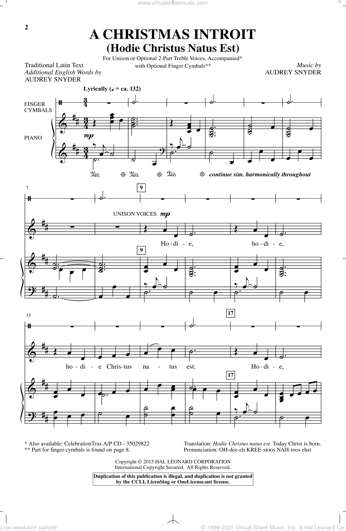 A Christmas Introit (Hodie Christus Natus Est) sheet music for choir by Audrey Snyder. Score Image Preview.