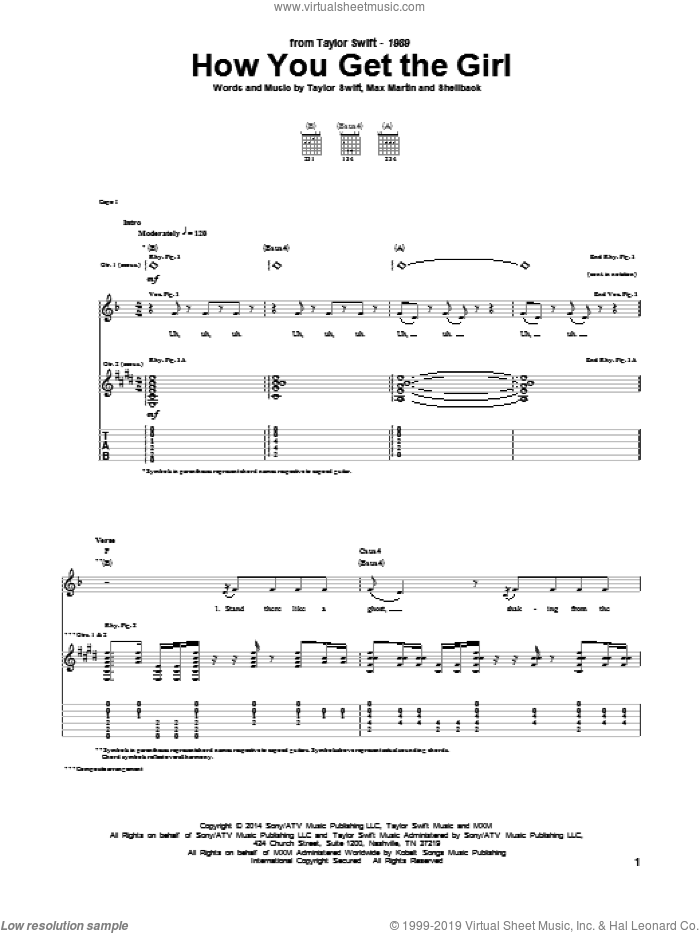 How You Get The Girl sheet music for guitar (tablature) by Taylor Swift, Johan Schuster, Max Martin and Shellback, intermediate guitar (tablature). Score Image Preview.