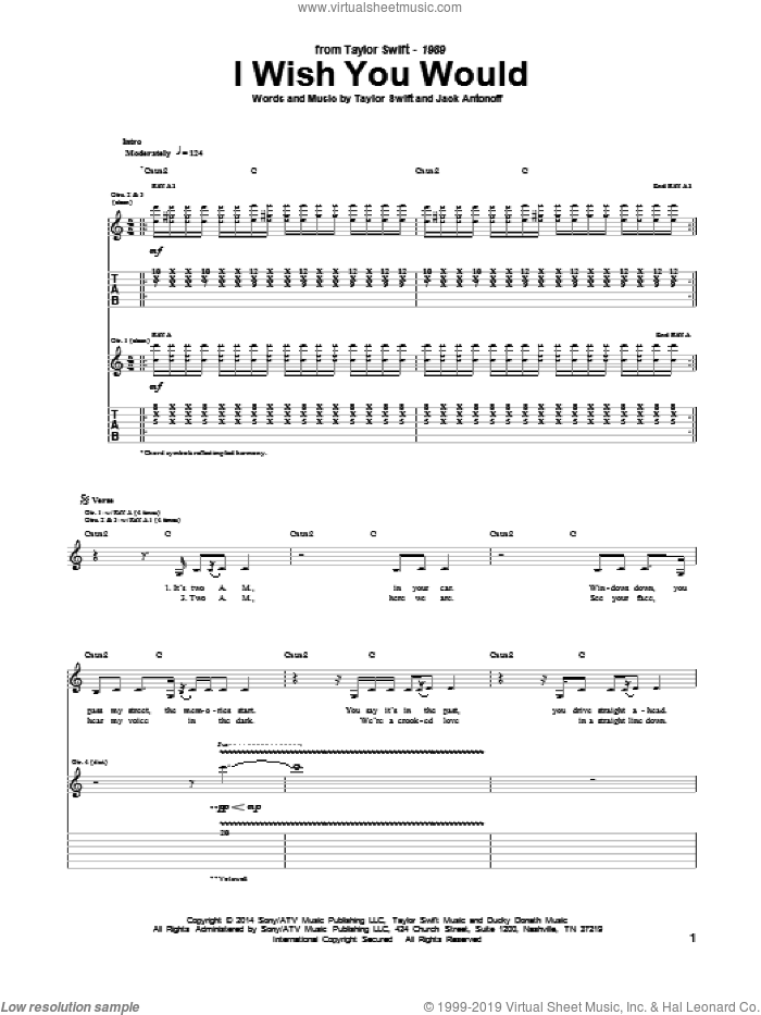 I Wish You Would sheet music for guitar (tablature) by Taylor Swift and Jack Antonoff, intermediate skill level