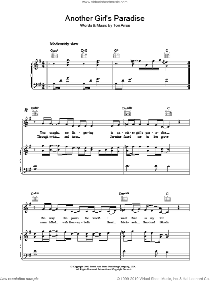 Another Girl's Paradise sheet music for voice, piano or guitar by Tori Amos. Score Image Preview.