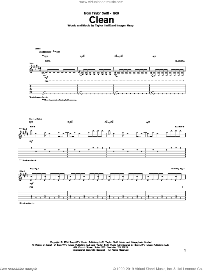 Clean sheet music for guitar (tablature) by Taylor Swift and Imogen Heap, intermediate guitar (tablature). Score Image Preview.
