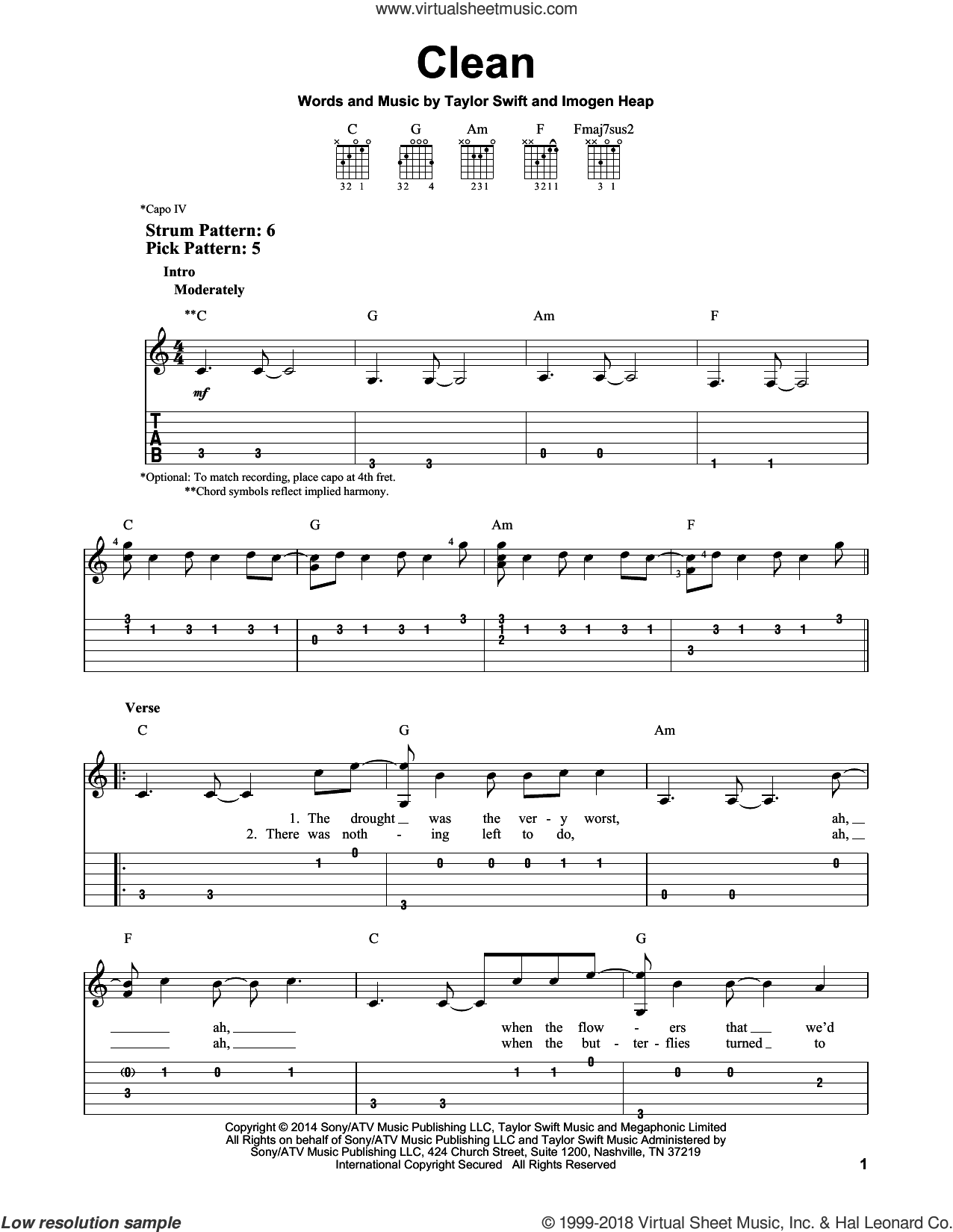 Clean sheet music for guitar solo (easy tablature) by Taylor Swift and Imogen Heap, easy guitar (easy tablature)