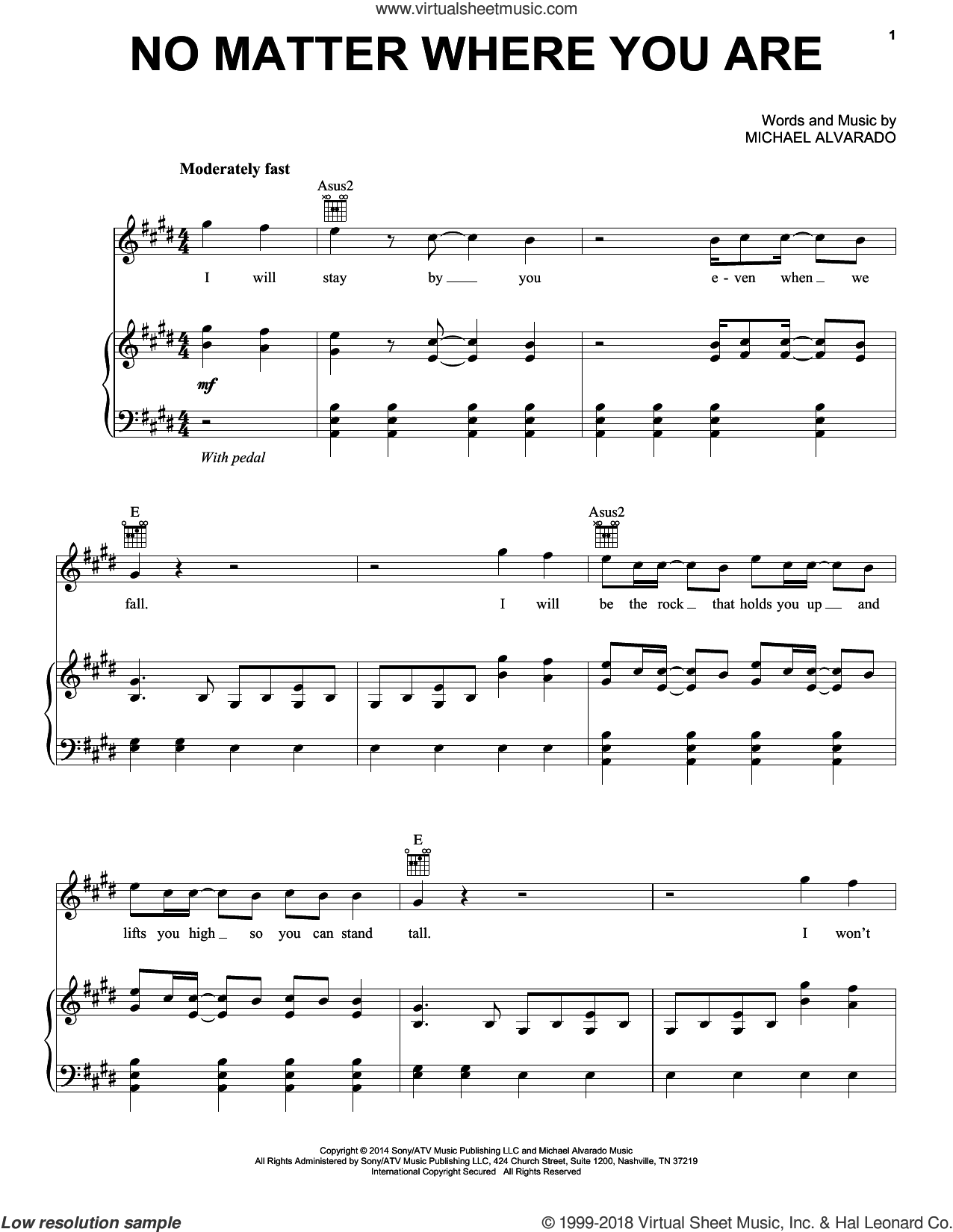 No Matter Where You Are sheet music for voice, piano or guitar by Us The Duo and Michael Alvarado, intermediate skill level