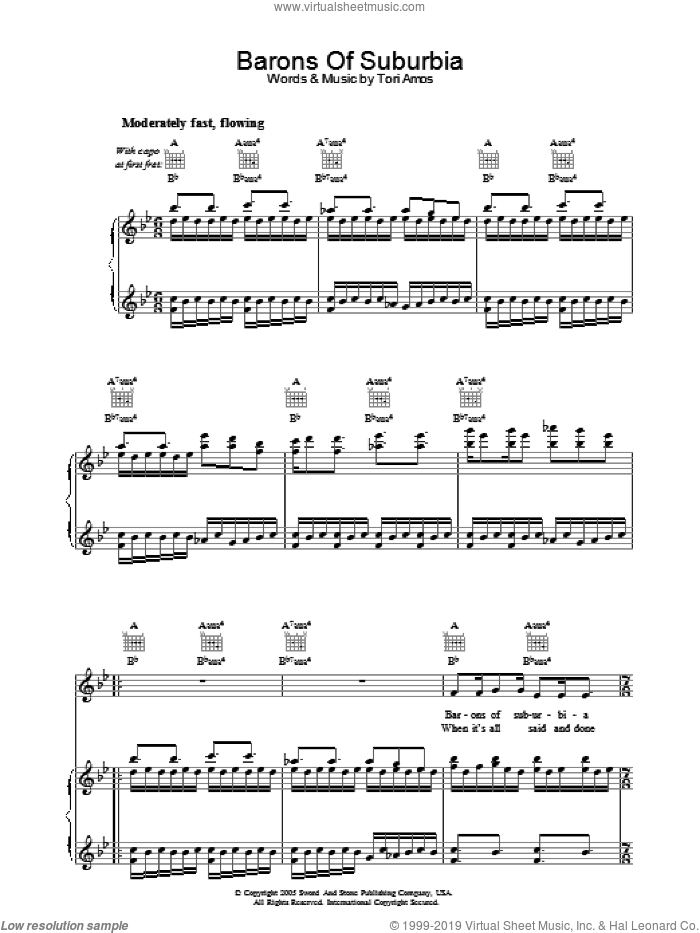 Barons Of Suburbia sheet music for voice, piano or guitar by Tori Amos, intermediate skill level