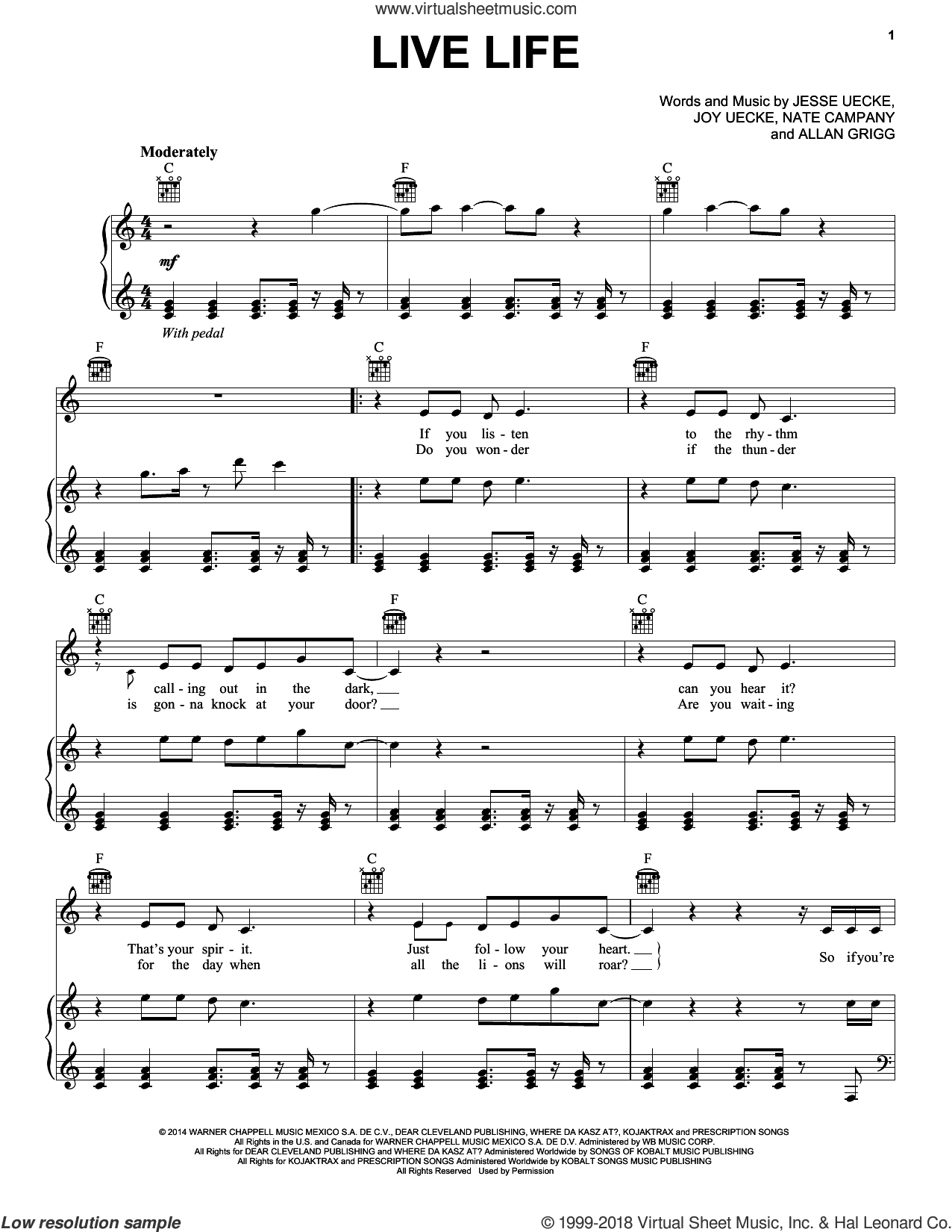 Live Life sheet music for voice, piano or guitar by Jesse & Joy, intermediate. Score Image Preview.