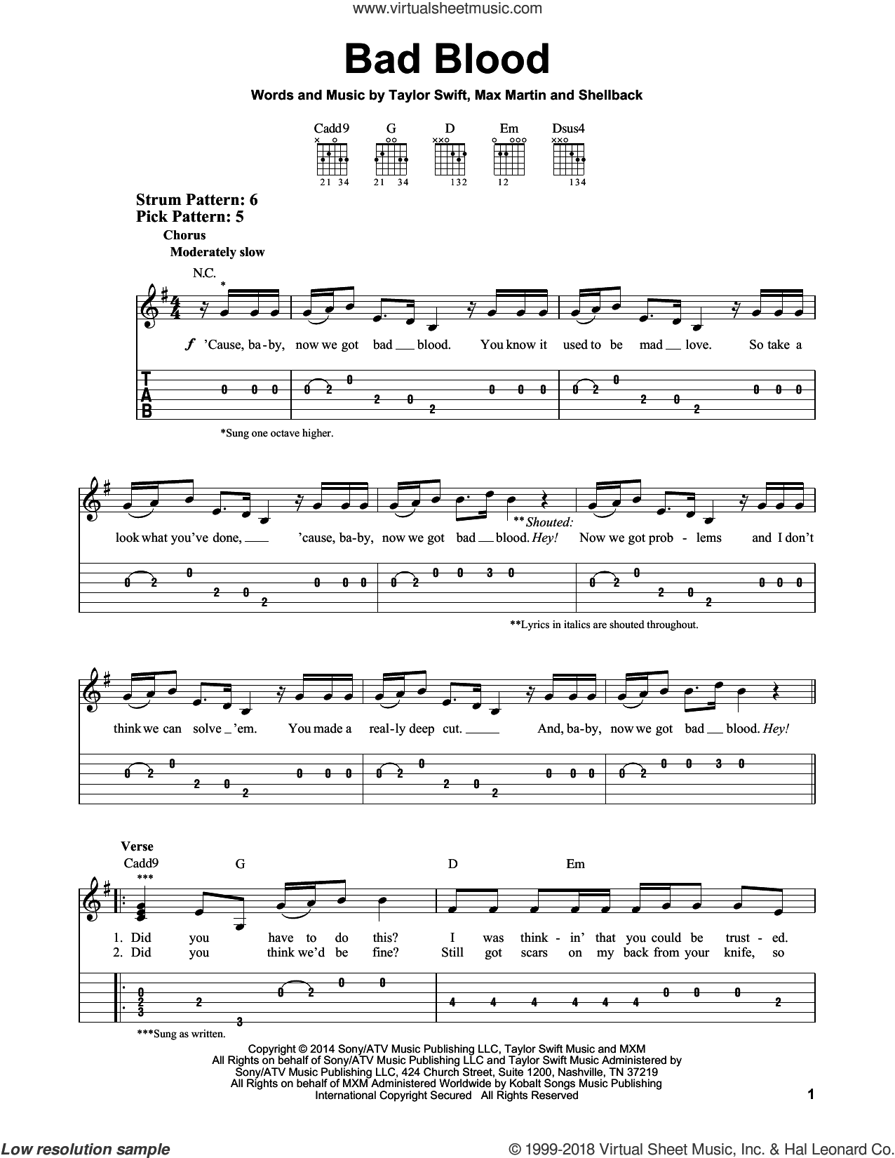 Bad Blood sheet music for guitar solo (easy tablature) by Taylor Swift, Johan Schuster, Max Martin and Shellback, easy guitar (easy tablature)