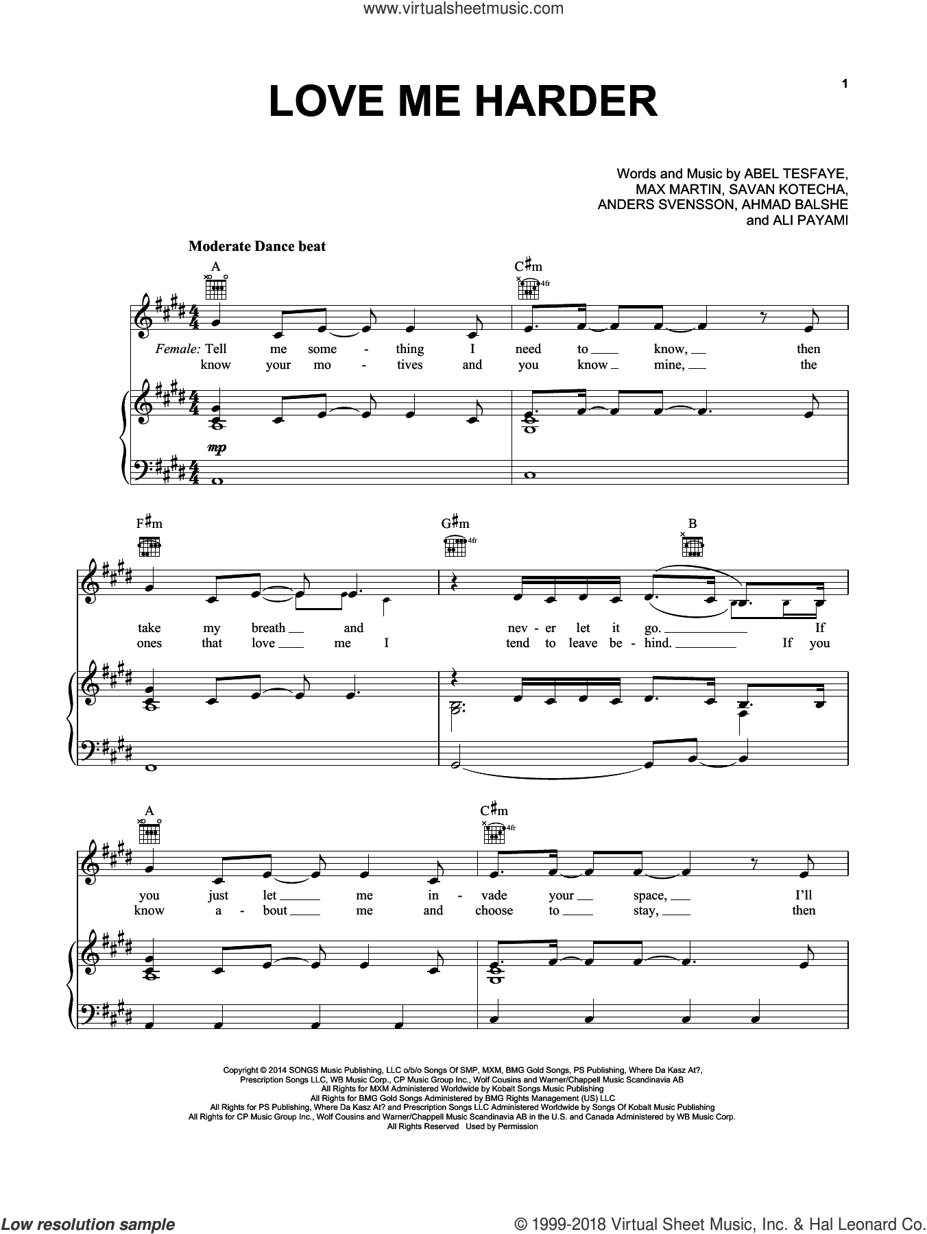 Love Me Harder sheet music for voice, piano or guitar by Ariana Grande & The Weeknd, Ariana Grande, Abel Tesfaye, Ahmad Balshe, Ali Payami, Max Martin, Peter Svensson and Savan Kotecha, intermediate skill level