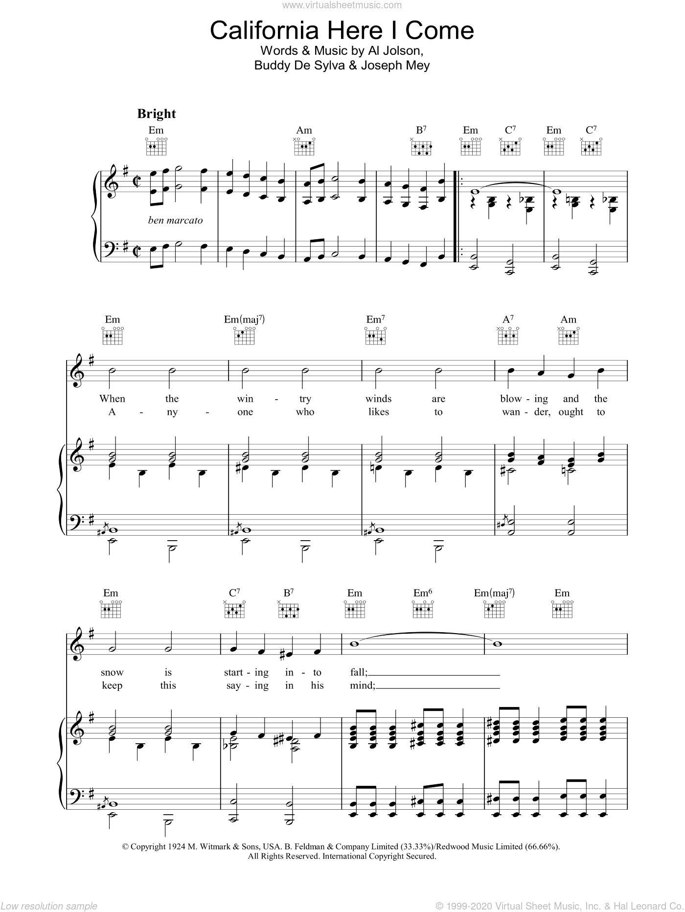 California Here I Come sheet music for voice, piano or guitar by Al Jolson and Joseph Meyer, intermediate voice, piano or guitar. Score Image Preview.