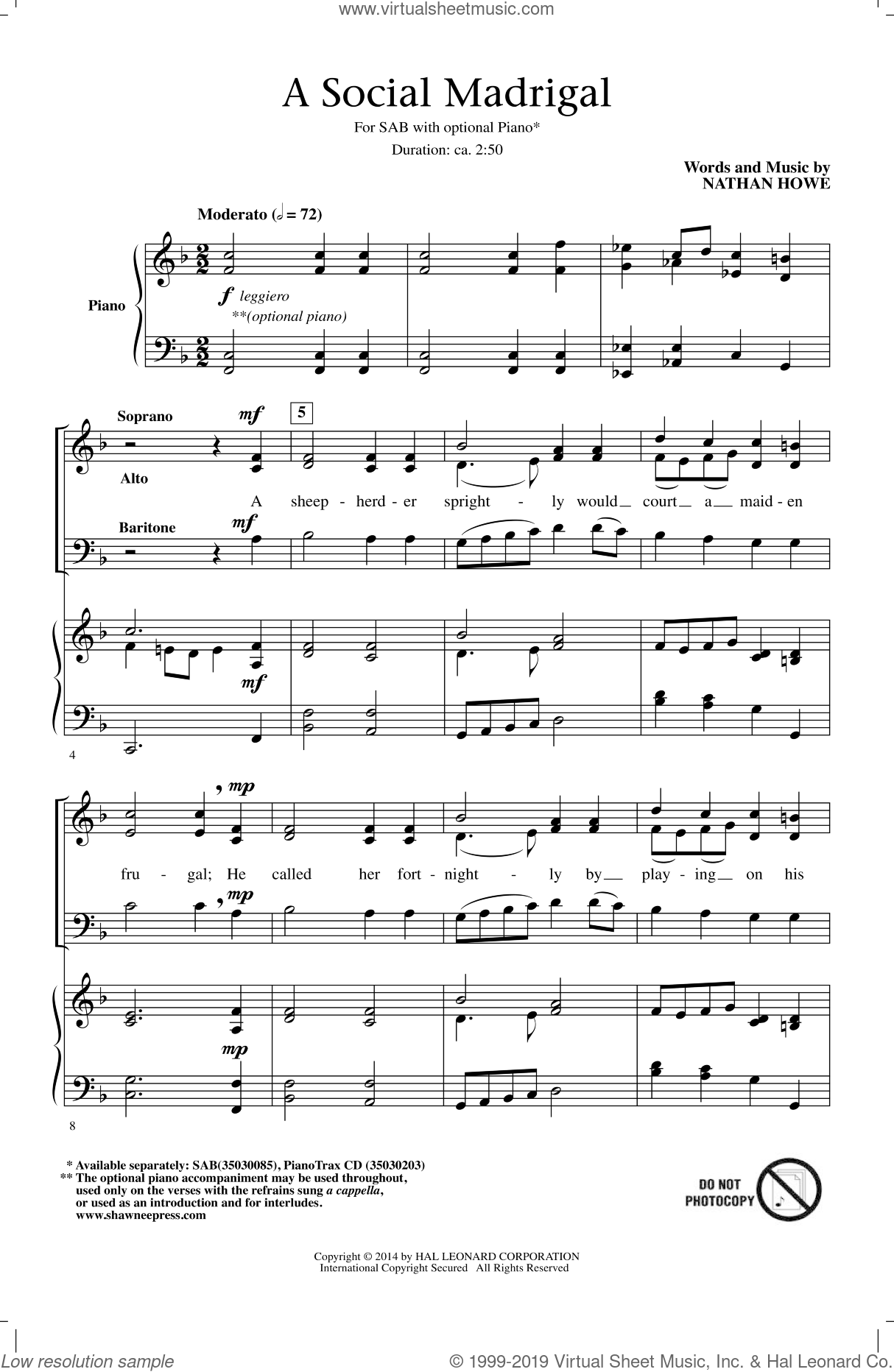 A Social Madrigal sheet music for choir and piano (SAB) by Nathan Howe. Score Image Preview.