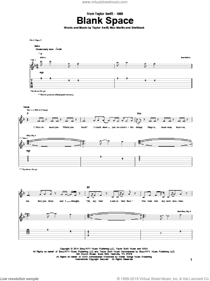 Blank Space sheet music for guitar (tablature) by Shellback, Taylor Swift, Johan Schuster and Max Martin. Score Image Preview.