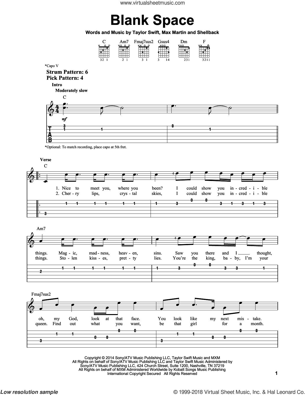 Blank Space sheet music for guitar solo (easy tablature) by Shellback, Taylor Swift, Johan Schuster and Max Martin. Score Image Preview.