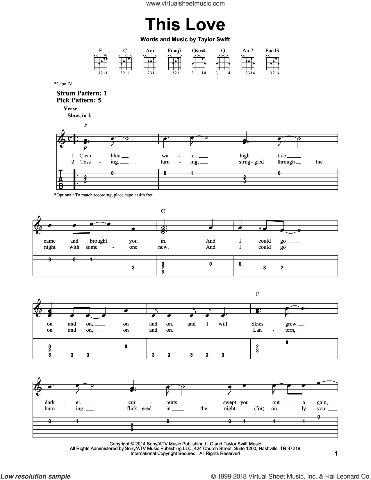 This Love sheet music for guitar solo (easy tablature) by Taylor Swift. Score Image Preview.