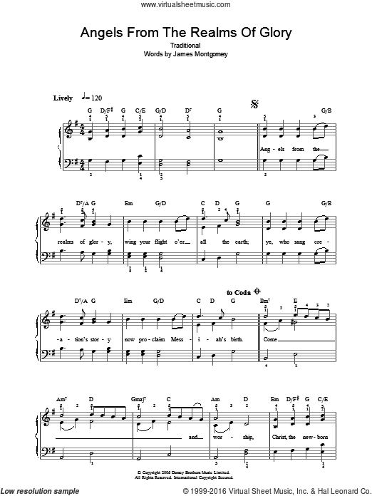 Angels From The Realms Of Glory sheet music for voice, piano or guitar  and James Montgomery. Score Image Preview.