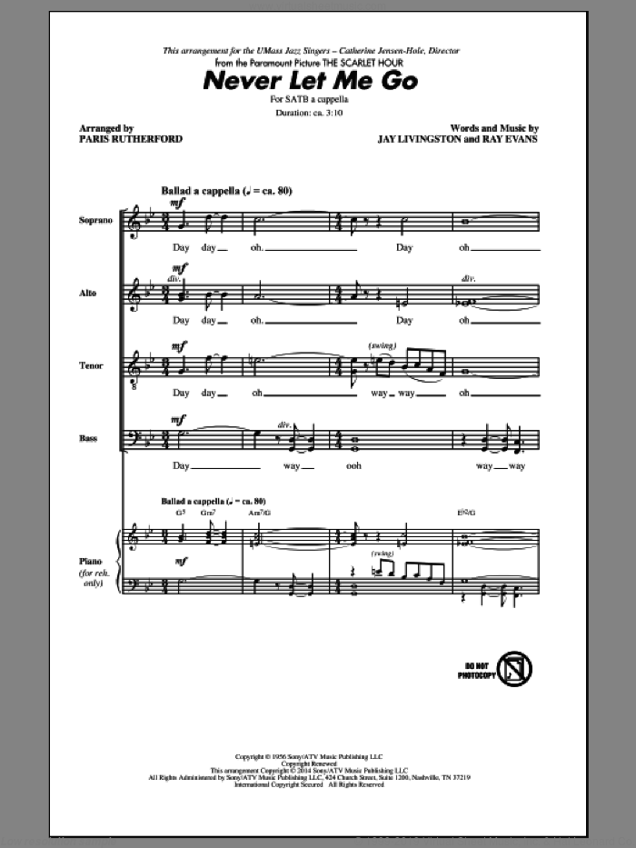 Never Let Me Go sheet music for choir (SATB) by Ray Evans, Paris Rutherford and Jay Livingston. Score Image Preview.