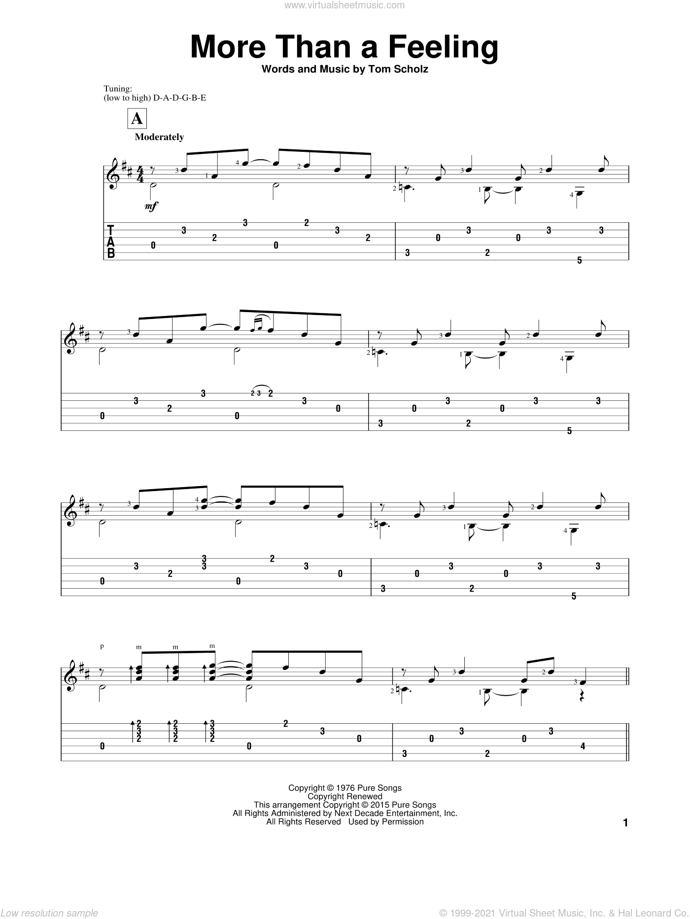 More Than A Feeling sheet music for guitar solo by Boston, John Hill and Tom Scholz, classical score, intermediate skill level