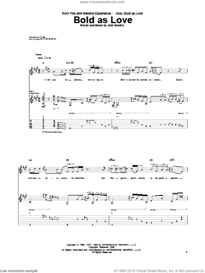 Bold As Love sheet music for guitar (tablature) by Jimi Hendrix, intermediate skill level